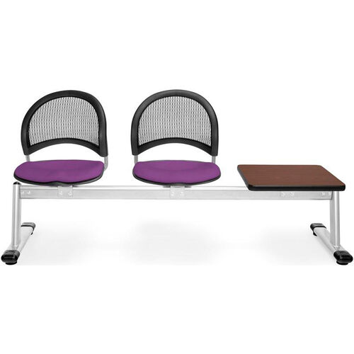 Our Moon 3-Beam Seating with 2 Plum Fabric Seats and 1 Table - Mahogany Finish is on sale now.