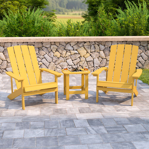 2 Pack Charlestown All-Weather Poly Resin Wood Adirondack Chairs with Side Table in Yellow