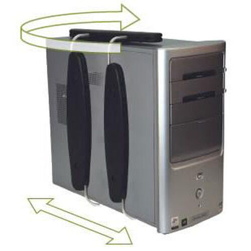 Our DOC Adjustable Space Saving Petite Vertical Aluminum CPU Holder with Slide and Swivel - Black is on sale now.