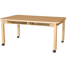 Mobile Four-Seater Classroom High Pressure Laminate Desk with Hardwood Legs - 60