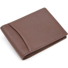 RFID Blocking Double ID Flat Fold Wallet - Top Grain Nappa Leather - Coco