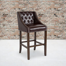 """Carmel Series 30"""" High Transitional Tufted Walnut Barstool with Accent Nail Trim in Brown LeatherSoft"""