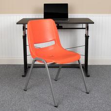 HERCULES Series 880 lb. Capacity Orange Ergonomic Shell Stack Chair with Gray Frame