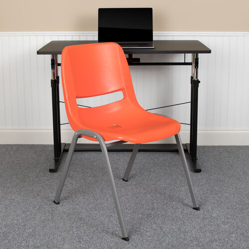 Our HERCULES Series 880 lb. Capacity Orange Ergonomic Shell Stack Chair with Gray Frame is on sale now.