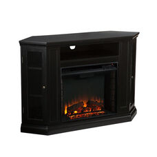 Claremont Corner Convertible Media Center with Glass Storage Doors and Electric Fireplace - Black