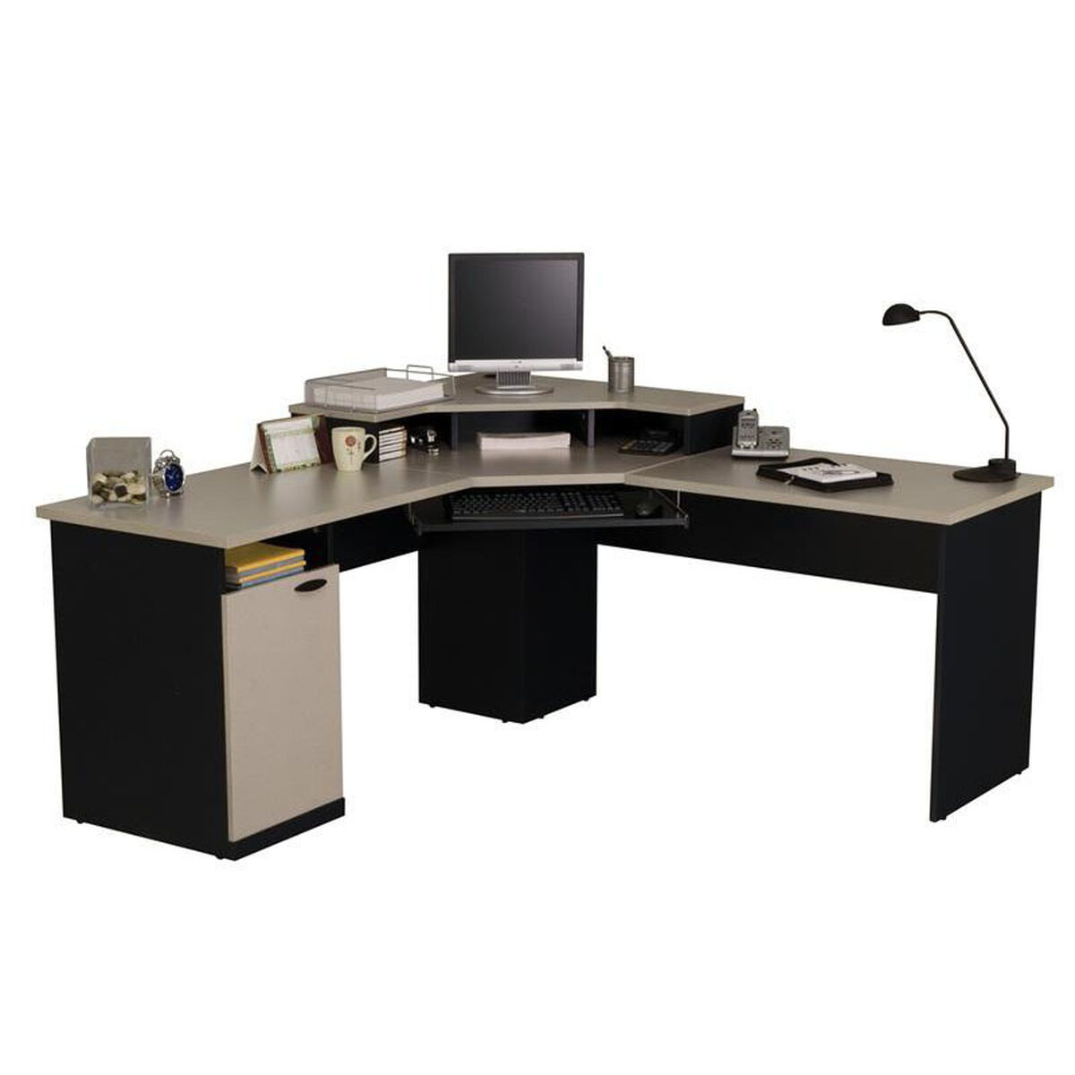 Our Hampton Corner Workstation With Monitor Shelf And Keyboard Sand Granite Charcoal Is