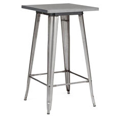 Dreux 42''H Clear Gunmetal Steel Bar Table