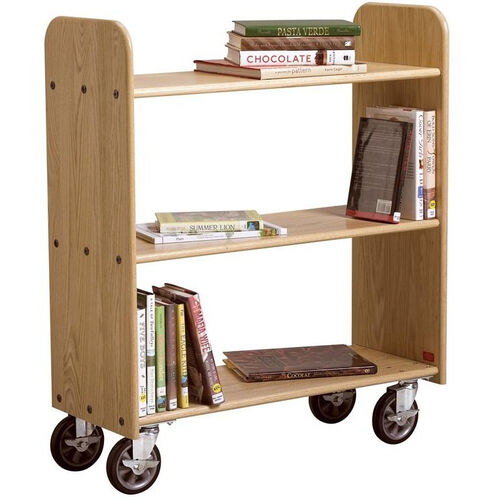 Our Solid Oak Mobile Book Truck with 3 Flat Shelves - 40.5