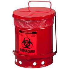 SoundGard™ 6 Gallon Steel Biohazard Waste Cans - Red