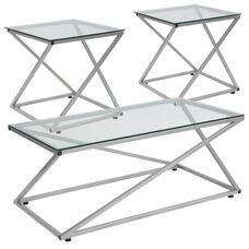 Park Avenue Collection 3 Piece Coffee and End Table Set with Glass Tops and Silver Metal Frames