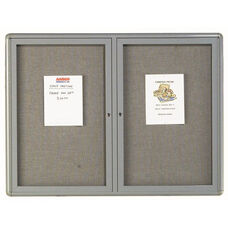 2 Door Radius Design Enclosed Bulletin Board with Gray Fabric and Medium Gray Frame - 36''H x 48''W