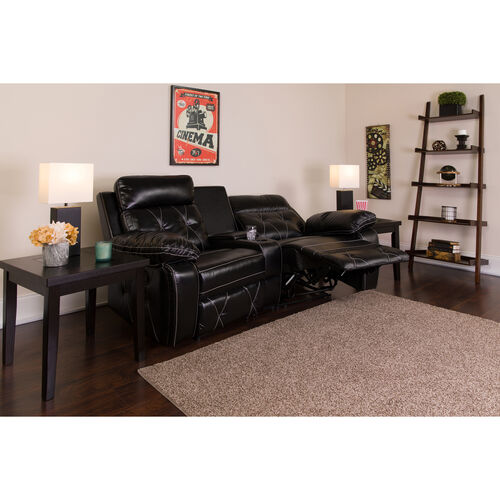Reel Comfort Series 2-Seat Reclining LeatherSoft Theater Seating Unit with Curved Cup Holders