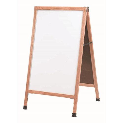 Our A-Frame Sidewalk White Porcelain Marker Board with Solid Red Oak Frame - 42