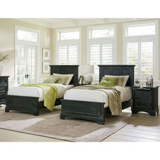 Inspired By Bassett Farmhouse Basics Double Twin Bedroom Set with 2 Twin Beds and 2 Nightstands
