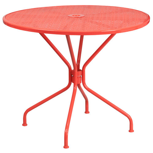 """Our Commercial Grade 35.25"""" Round Coral Indoor-Outdoor Steel Patio Table is on sale now."""