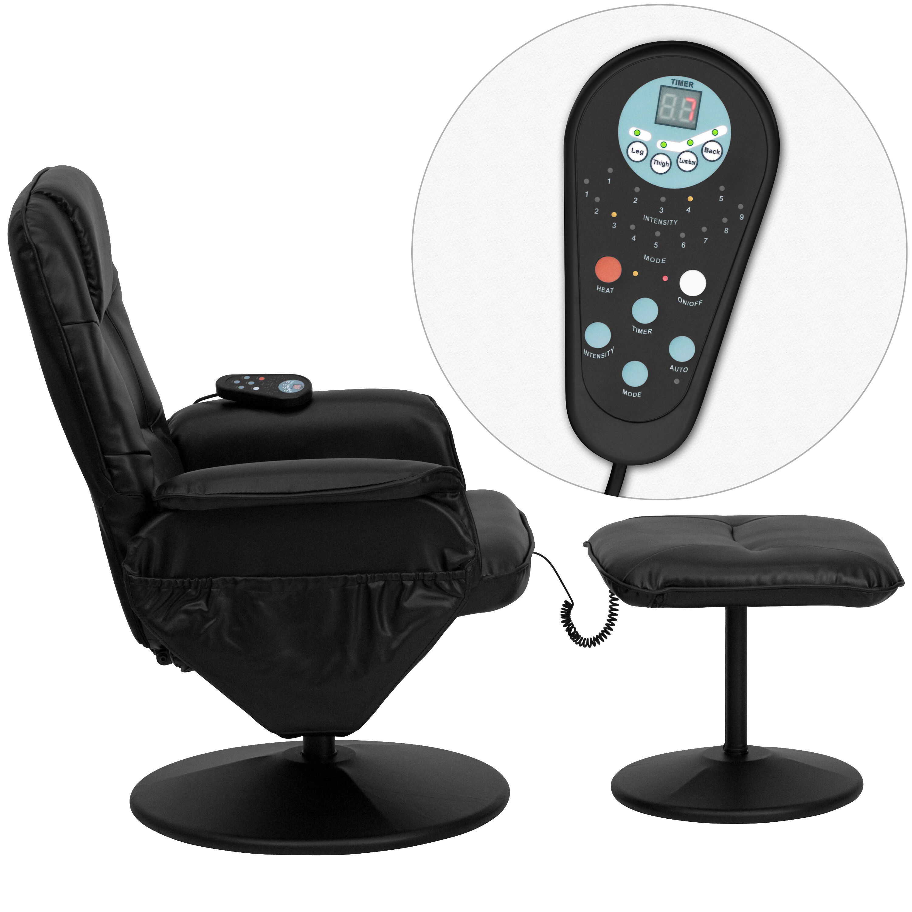 Our Massaging Black Leather Recliner And Ottoman With Leather Wrapped Base  Is On Sale Now.