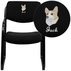 Embroidered Black Fabric Executive Side Reception Chair with Sled Base