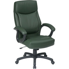Work Smart Executive High-Back Eco-Leather Office Chair with Seat Adjustment - Green