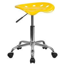 Vibrant Orange-Yellow Tractor Seat and Chrome Stool