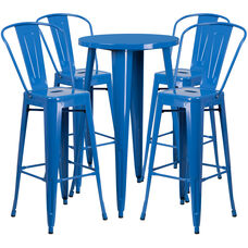 """Commercial Grade 24"""" Round Blue Metal Indoor-Outdoor Bar Table Set with 4 Cafe Stools"""