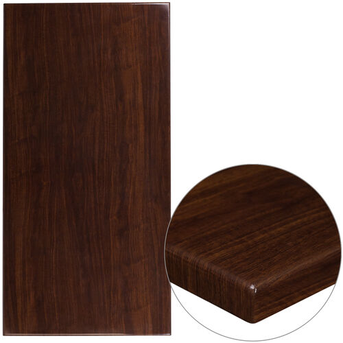"""Our 30"""" x 60"""" Rectangular High-Gloss Walnut Resin Table Top with 2"""" Thick Edge is on sale now."""