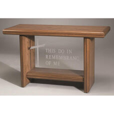 Stained Oak Communion Table with Plexiglass Front