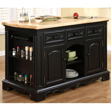 Pennfield Kitchen Island with Black Granite Removable Cutting Surface - Natural Top with Black Sand Through Base