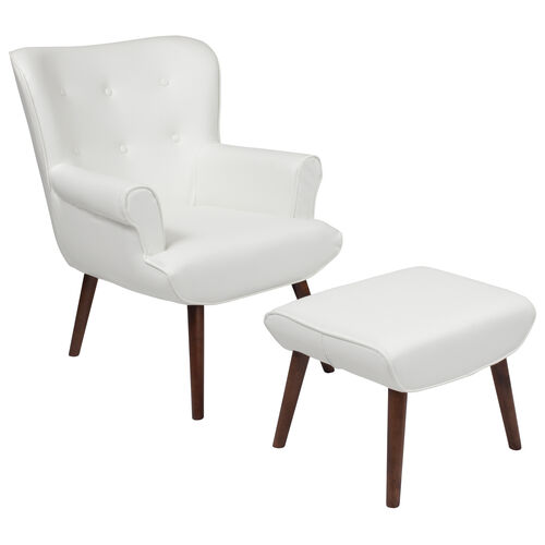 Our Bayton Upholstered Wingback Chair with Ottoman in White Leather is on sale now.