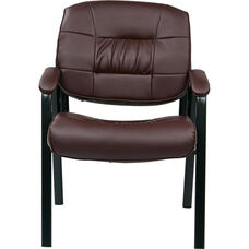 Work Smart Bonded Leather Executive Visitors Chair with Steel Base and Padded Arms - Burgundy
