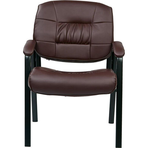 Our Work Smart Bonded Leather Executive Visitors Chair with Steel Base and Padded Arms - Burgundy is on sale now.