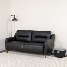 Newton Hill Upholstered Bustle Back Sofa in Black LeatherSoft