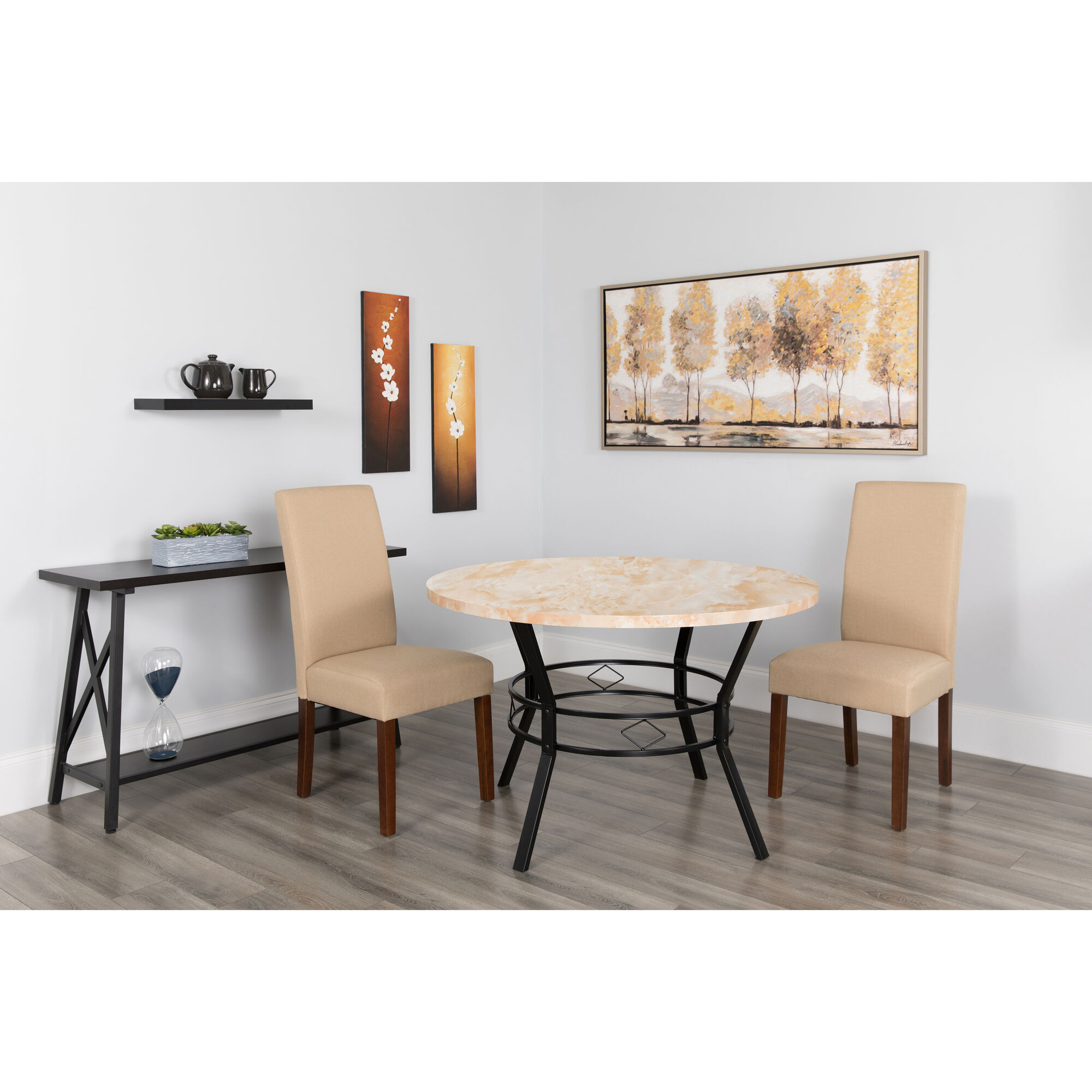 Our tremont quot round dining table in quartz marble like
