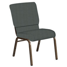 Embroidered 18.5''W Church Chair in Canterbury Pewter Fabric - Gold Vein Frame