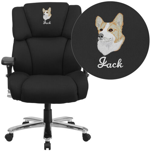 Embroidered HERCULES Series 24/7 Intensive Use Big & Tall 400 lb. Rated Executive Swivel Ergonomic Office Chair with Lumbar Knob and Tufted Headrest & Back