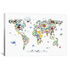 Animal Map of The World by Michael Tompsett Gallery Wrapped Canvas Artwork - 40