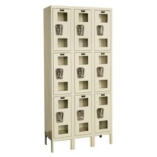 Safety Clear View Three Wide Triple-Tier Locker Unassembled - Parchment Finish - 36
