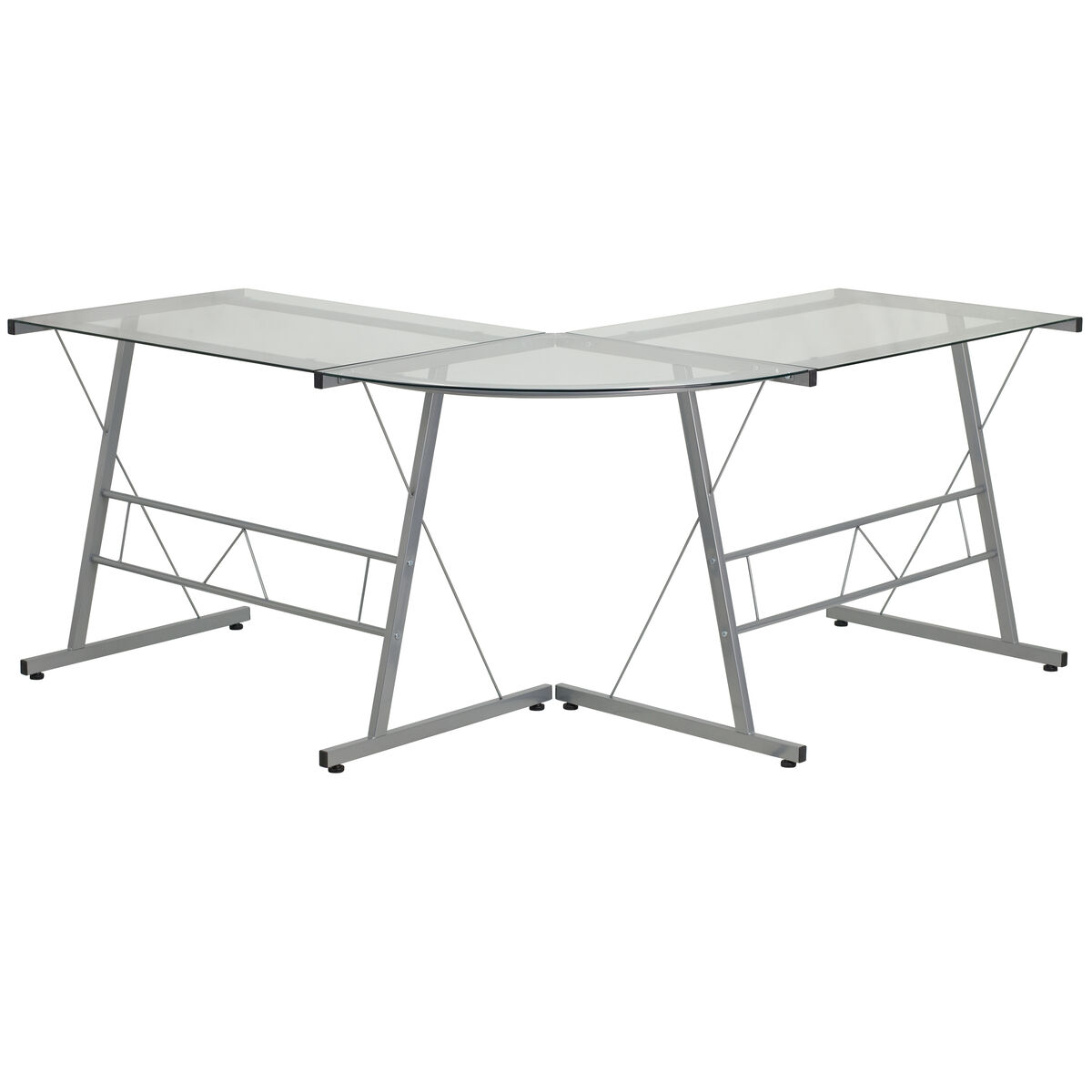 Our Glass L Shape Computer Desk With Silver Metal Frame Is On Sale Now