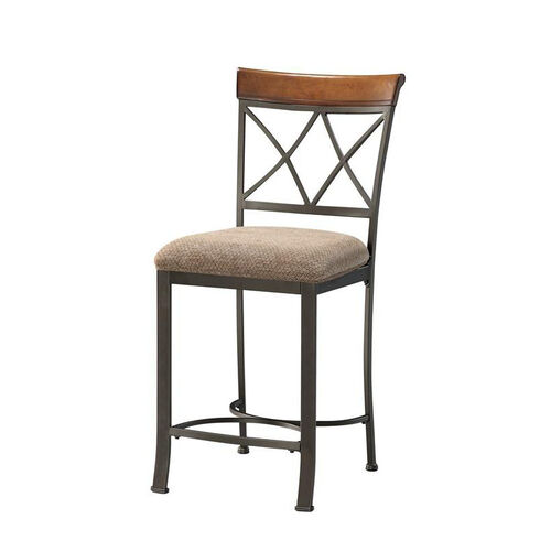 Hamilton Counter Stool - Brushed Medium Cherry with Diamond Pattern Taupe and Beige Fabric