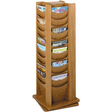 Forty-Eight Scoop Front Solid Wood Pocket on a 360 Degree Rotating Display - Medium Oak