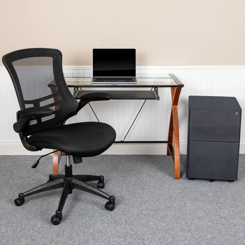 Work From Home Kit - Glass Desk with Keyboard Tray, Ergonomic Mesh Office Chair and Filing Cabinet with Lock & Side Handles