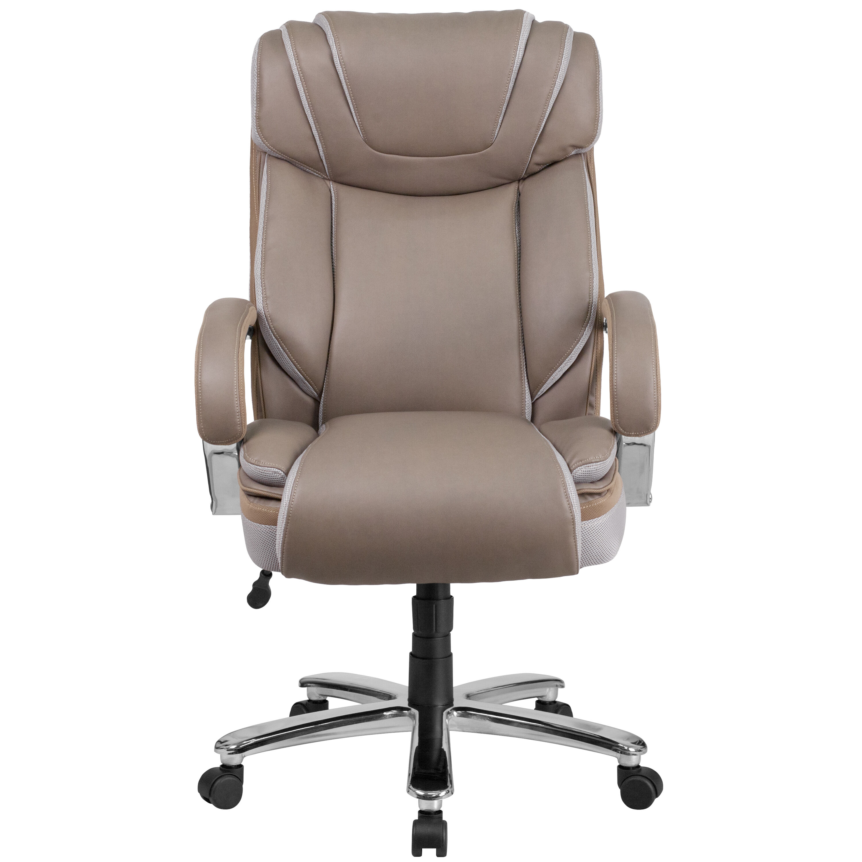 Rated Taupe Leather Executive Swivel Chair With