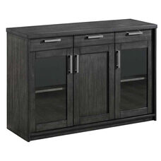 Wooden Server with Tempered Glass Cabinet Doors - Charcoal