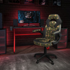 BlackArc Red Gaming Desk and Camouflage/Black Racing Chair Set with Cup Holder and Headphone Hook