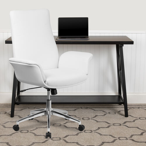 Mid-Back White LeatherSoft Executive Swivel Office Chair with Flared Arms