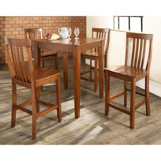 5 Piece Pub Dining Set with Tapered Leg and School House Stools - Classic Cherry Finish