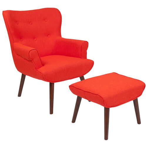 Our Bayton Upholstered Wingback Chair with Ottoman in Orange Fabric is on sale now.