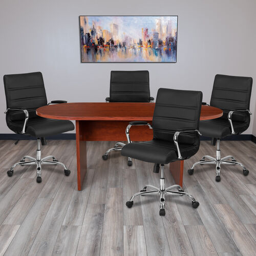 Our 5 Piece Cherry Oval Conference Table Set with 4 Black and Chrome LeatherSoft Executive Chairs is on sale now.