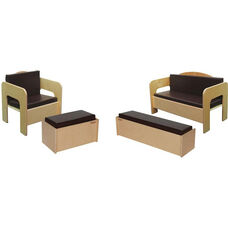 Wooden Kids 4 Piece Furniture Set with Brown Vinyl Cushions