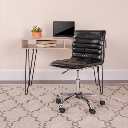 Our Low Back Designer Armless Ribbed Swivel Task Office Chair is on sale now.