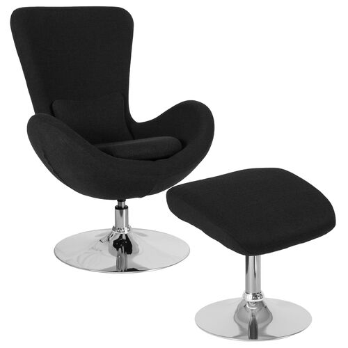 Our Egg Series Black Fabric Side Reception Chair with Ottoman is on sale now.